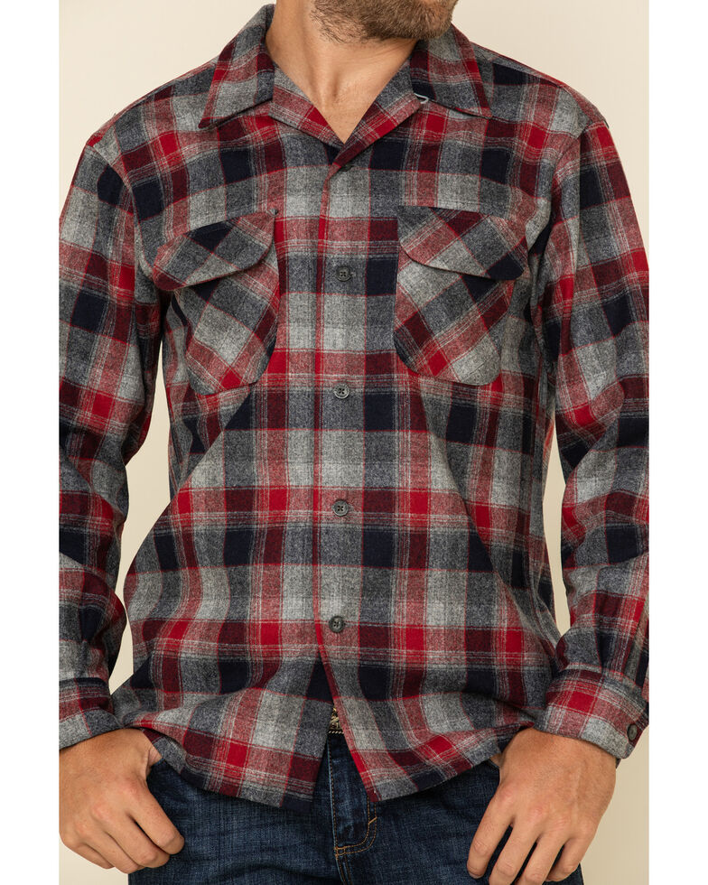 Pendleton Men's Red Board Plaid Long Sleeve Western Shirt , Red, hi-res
