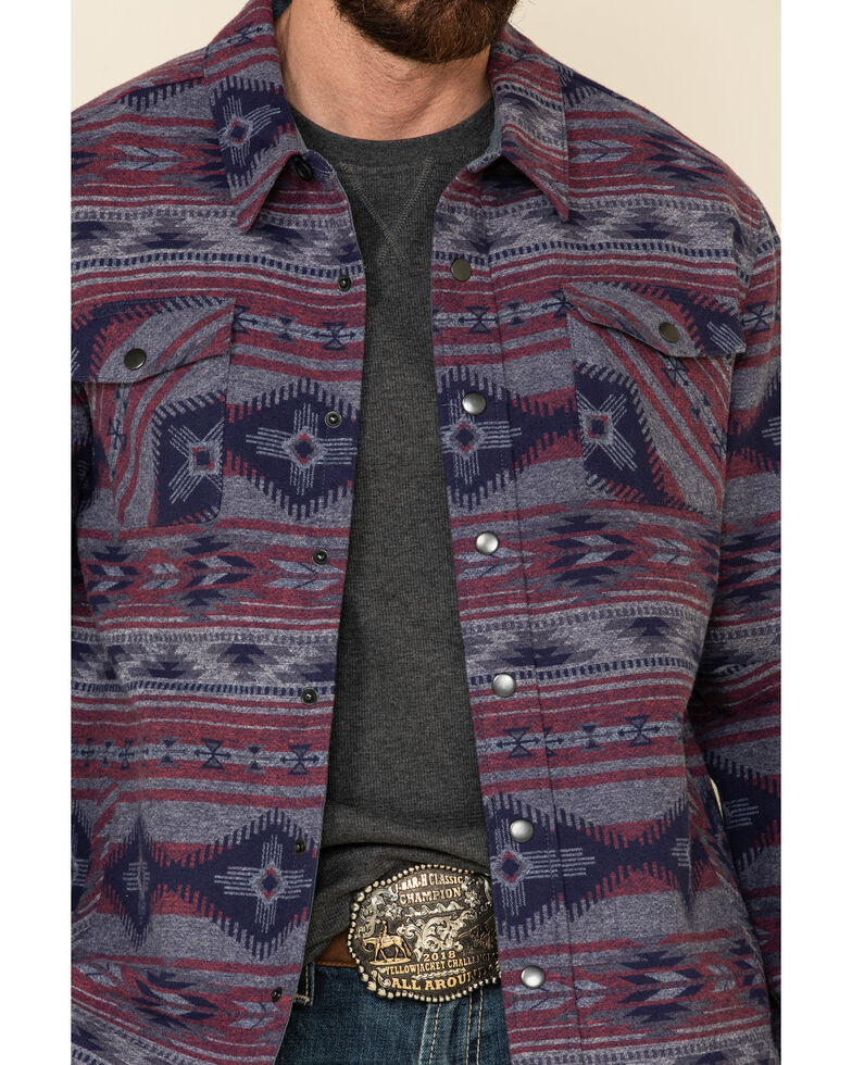 Rock & Roll Denim Men's Faded Red Aztec Print Shirt Jacket , Red, hi-res