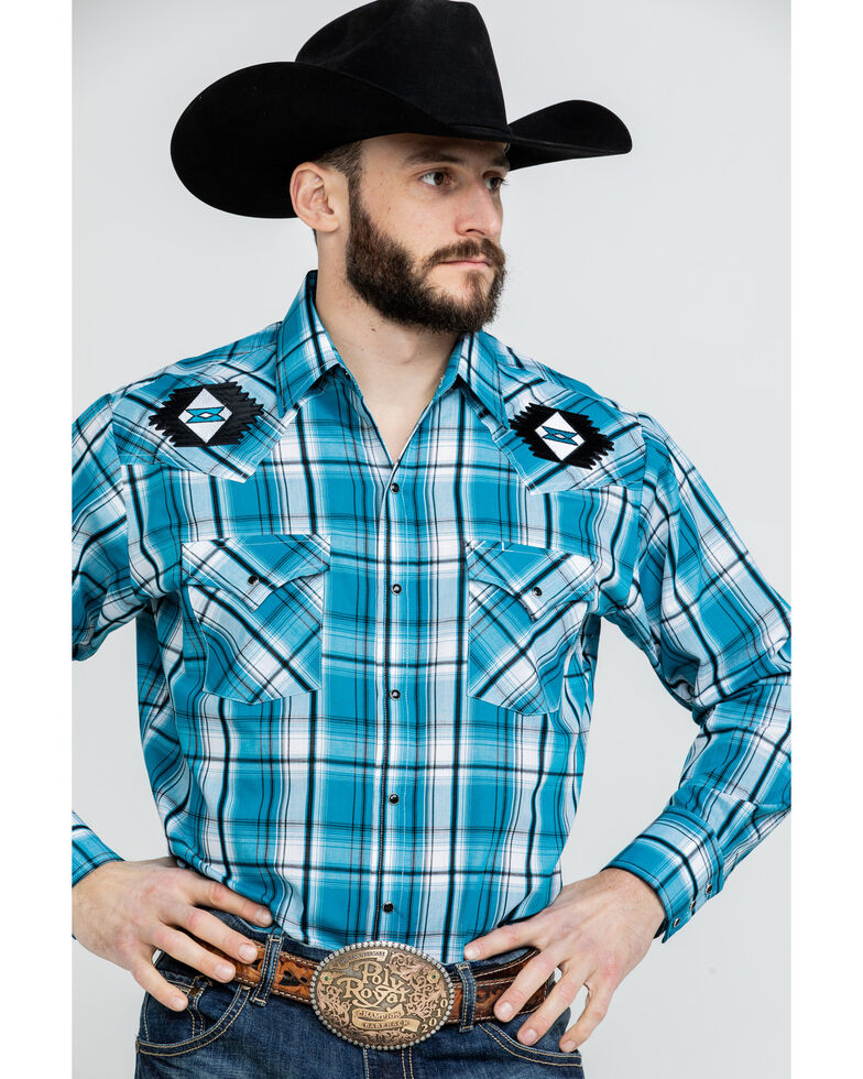 Ely Walker Men's Turquoise Retro Plaid Embroidered Long Sleeve Western Shirt  , Turquoise, hi-res