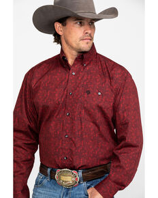 George Strait By Wrangler Men's Multi Geo Print Button Long Sleeve Western Shirt , Black/red, hi-res