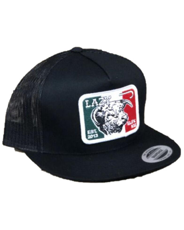 Lazy J Ranch Men's Elevation Mexican Flag Patch Logo Mesh-Back Ball Cap , Black, hi-res