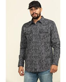 Moonshine Spirit Men's Black Pearl Paisley Print Long Sleeve Western Shirt , Black, hi-res