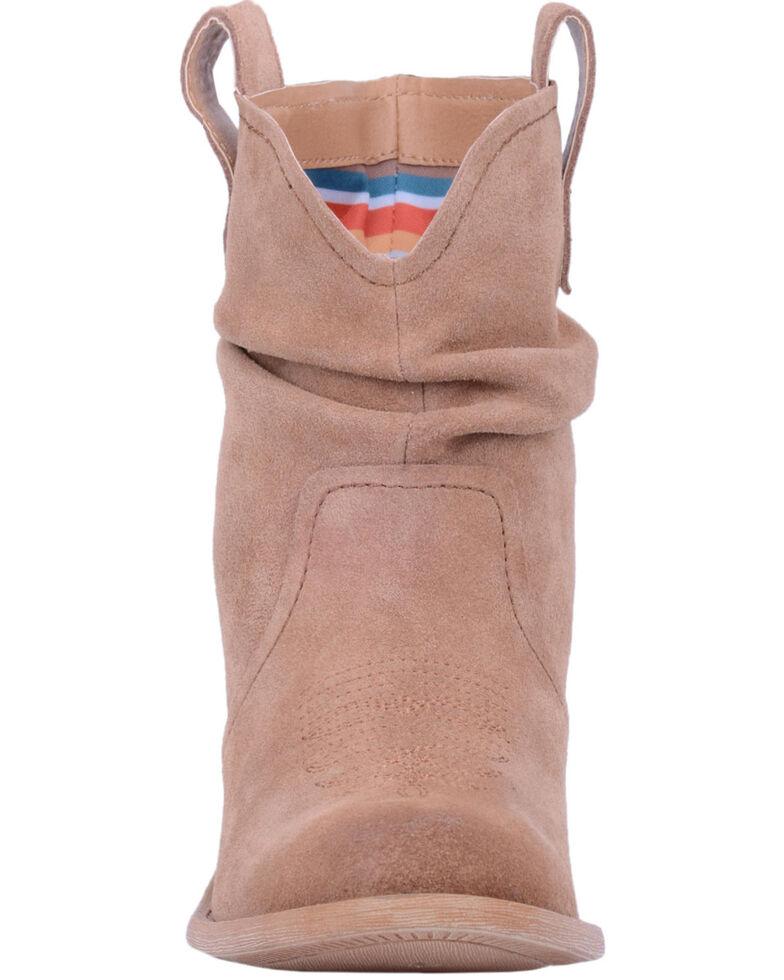 Dingo Women's Jackpot Slouch Suede Booties - Round Toe, Tan, hi-res