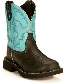 Justin Gypsy Women's Gemma Light Blue Cowgirl Boots - Round Toe, Black, hi-res