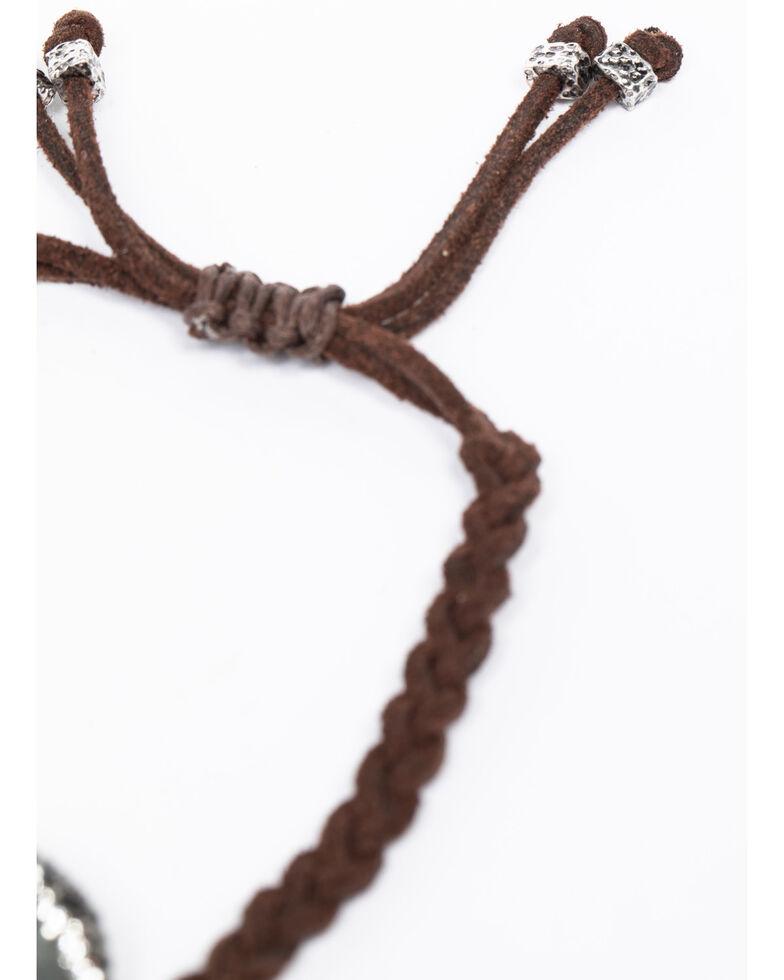 Shyanne Women's Emma Rae Green Stone Braided Tie Bracelet , Brown, hi-res