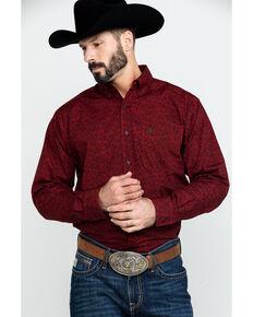 Ariat Men's Dalzano Paisley Print Long Sleeve Western Shirt - Tall , Burgundy, hi-res