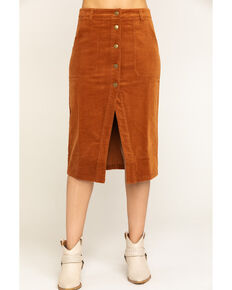 Others Follow Women's Brushed Corduroy Button Midi Skirt, Cognac, hi-res