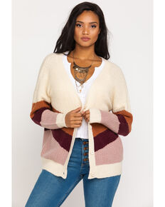 Others Follow Women's Stripe Button Cardigan , Cream, hi-res