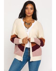 Others Follow Women's Stripe Button Cardigan , Cream, hi-res