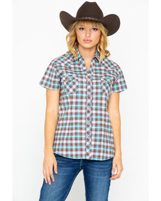 Panhandle Women's Lambie Antique Short Sleeve Western Shirt, Turquoise, hi-res