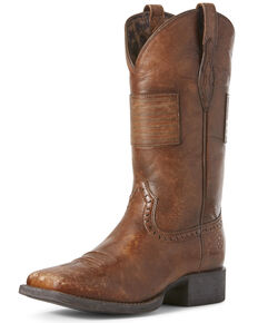 Ariat Women's Round Up Patriot Western Boots - Wide Square Toe, Brown, hi-res