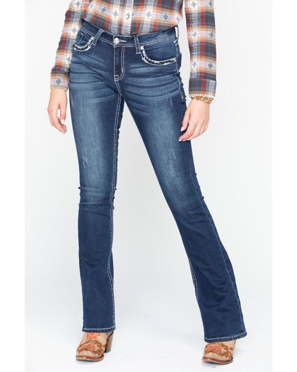 Grace In LA Floral Flap Boot Jeans , Blue, hi-res