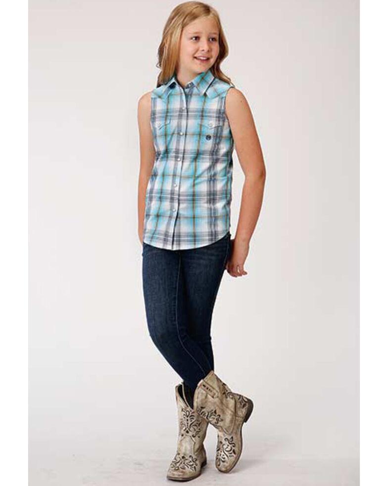 Amarillo Girls' Sweet Water Plaid Sleeveless Snap Western Shirt , Turquoise, hi-res