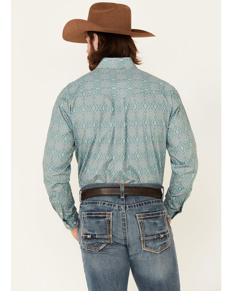 Roper Men's Jade Quarry Medallion Paisley Print Long Sleeve Button-Down Western Shirt , Green, hi-res
