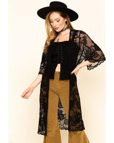 Shyanne Women's Lace Duster Kimono, Black, hi-res