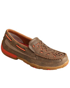 Twisted X Women's Laser Etched Slip-On Driving Shoes - Moc Toe, Brown, hi-res