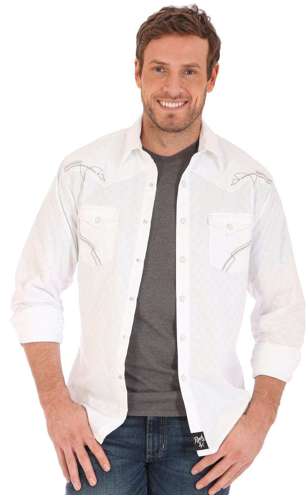Wrangler Men's Rock 47 White Embroidered Stitch Long Sleeve Snap Shirt, White, hi-res