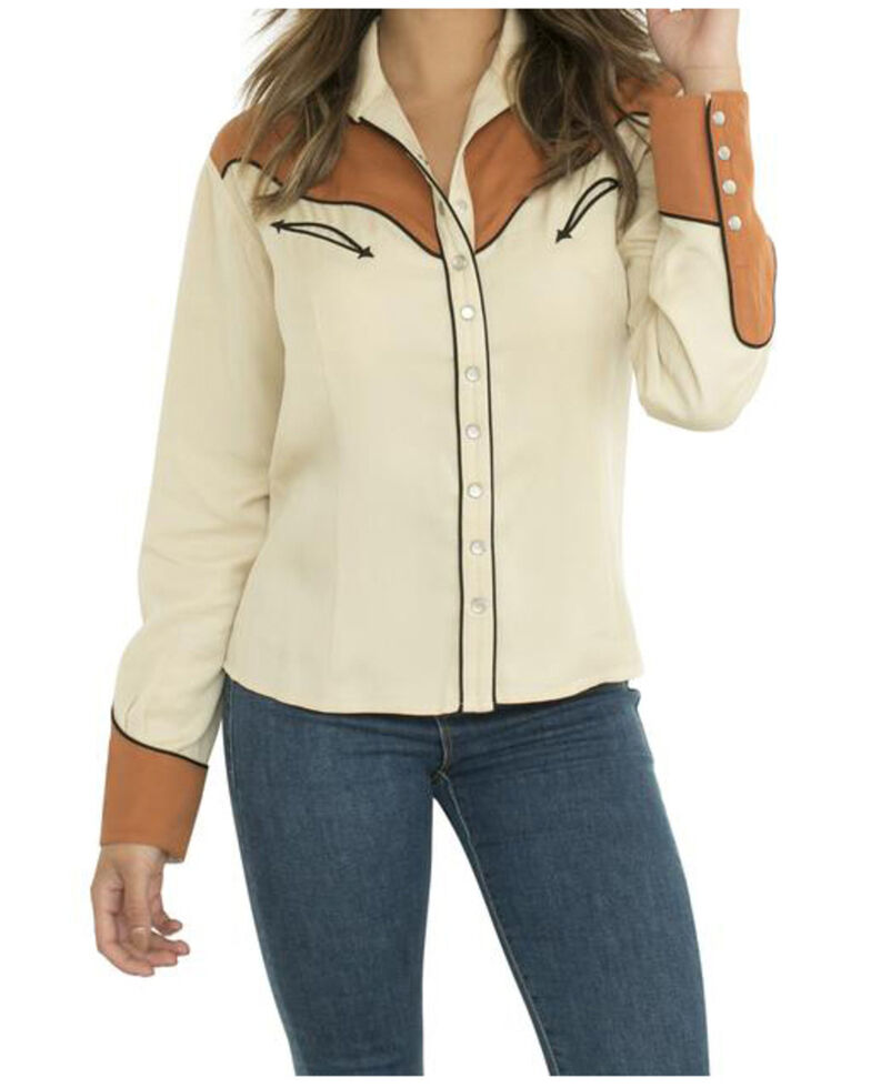 H Bar C Women's Tan Seattle Long Sleeve Western Shirt , Tan, hi-res