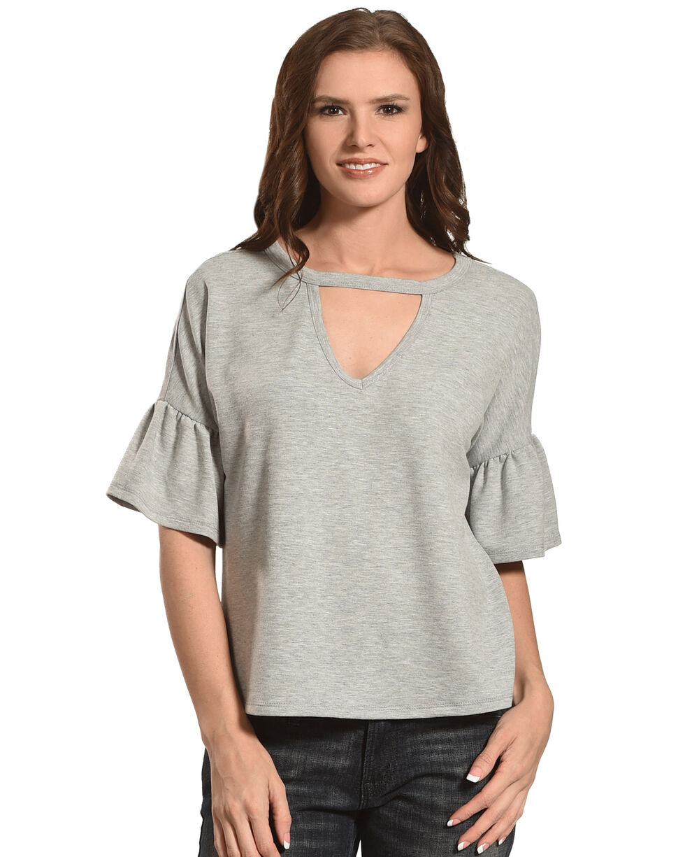 Eyeshadow Women's Knitted Keyhole Flutter Sleeve Top, , hi-res