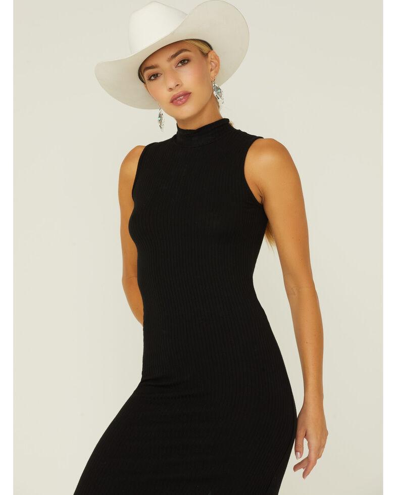 Elan Women's Ribbed Mock Neck Dress, Black, hi-res