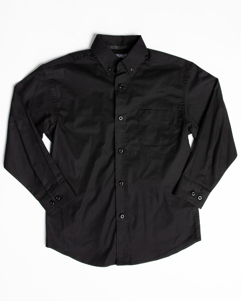 Panhandle Select Boys' Black Solid Stretch Long Sleeve Western Shirt , Black, hi-res