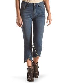 Tractr Women's Hi-Waist Torn Hem Crop Flare Jeans, Indigo, hi-res