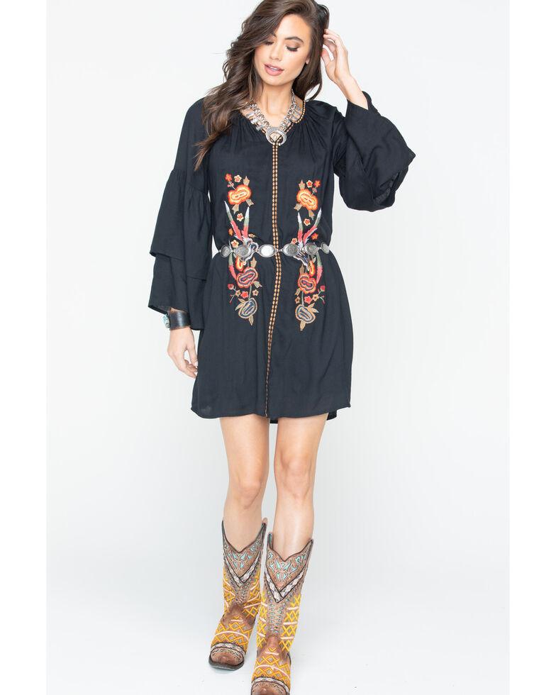Wrangler Women's Floral Embroidered Shift Dress , Black, hi-res