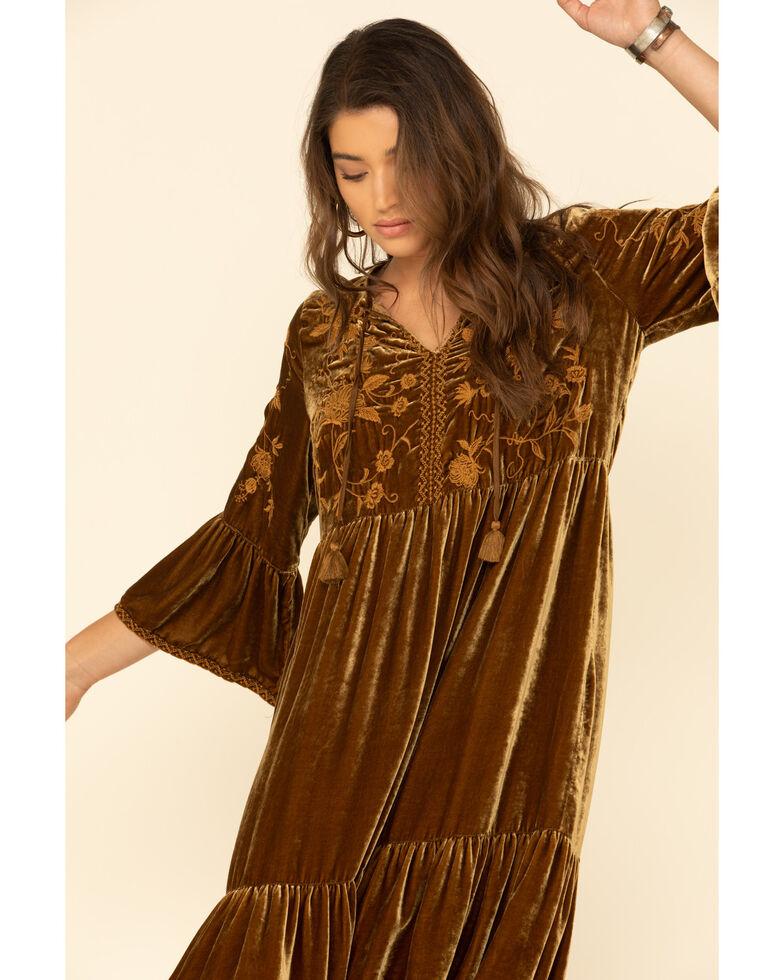 Johnny Was Women's Bronze Mille Velvet Boho Midi Dress , Bronze, hi-res