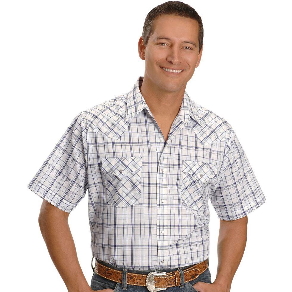 Ely Assorted Plaid or Stripe Short Sleeve Western Shirt, Plaid, hi-res