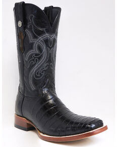 Tanner Mark Men's Gator Belly Print Western Boots - Square Toe, Black, hi-res