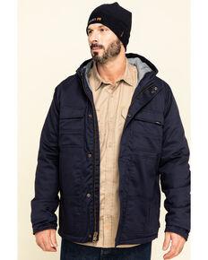 Hawx Men's Navy FR Duck Hooded Work Jacket , Navy, hi-res