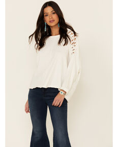 Miss Me Women's White Open Knot Sleeve Long Sleeve Top , White, hi-res