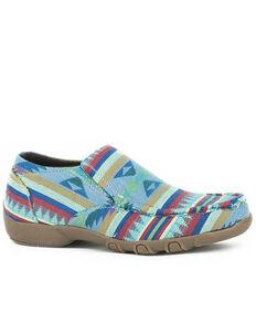 Roper Women's Multicolor Aztec Shoes - Moc Toe, Green, hi-res