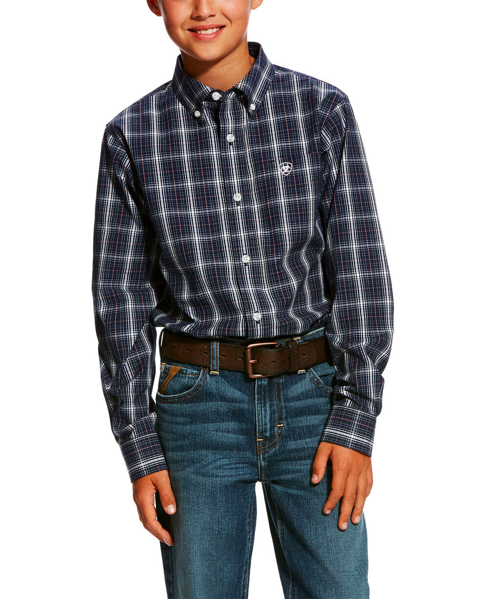 Ariat Boys' Daytona Plaid Long Sleeve Western Shirt , Navy, hi-res