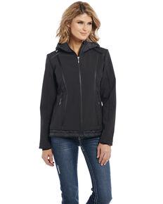 Cripple Creek Women's Water Resistant Softshell Hooded Jacket, Black, hi-res
