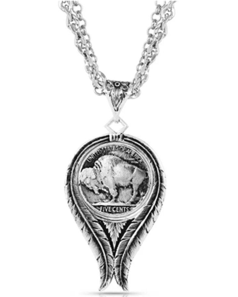 Montana Silversmiths Women's Buffalo Spirit Feather Necklace, Silver, hi-res