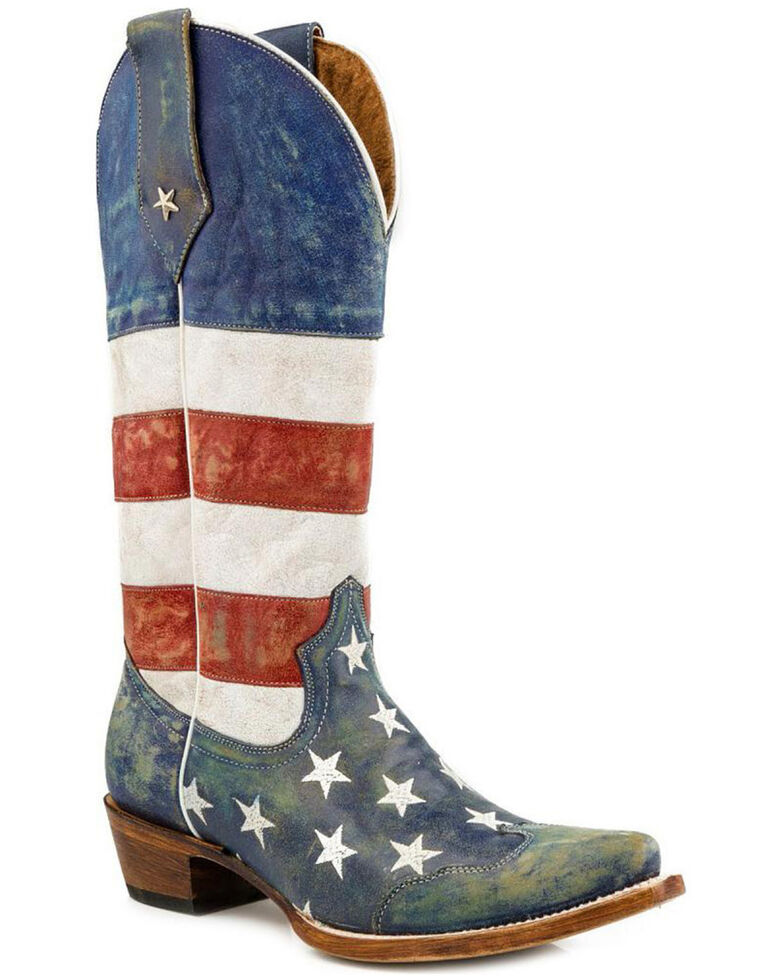 Roper American Flag Distressed Cowgirl Boots - Snip Toe, Blue, hi-res