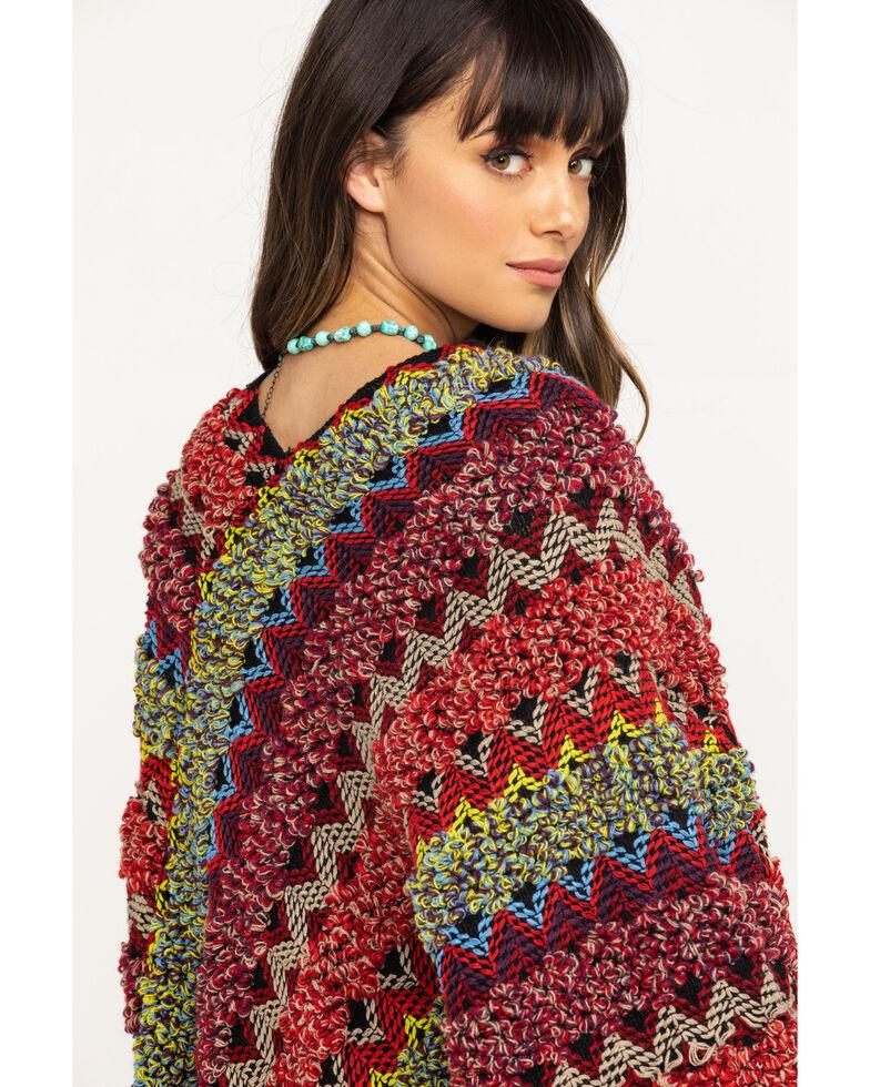 White Label by Panhandle Women's Twist Yarn Stripe Sweater Poncho, Multi, hi-res