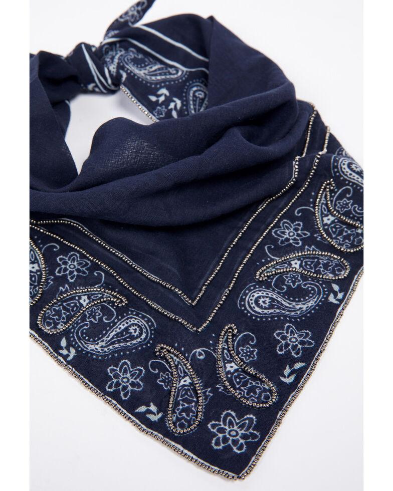 Idyllwind Women's Paisley Embellished Bandana Scarf, Navy, hi-res