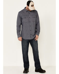 Hawx Men's Greyline Solid Stretch Herringbone Long Sleeve Work Shirt , Navy, hi-res