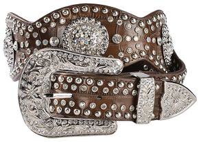 Blazin Roxx Scalloped Concho Leather Belt, Brown, hi-res