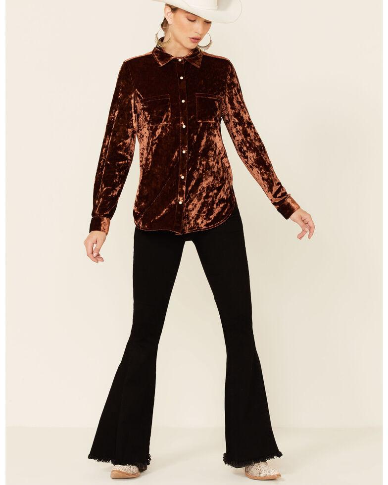 Rock & Roll Denim Women's Solid Brown Crushed Velvet Long Sleeve Snap Western Shirt , Brown, hi-res