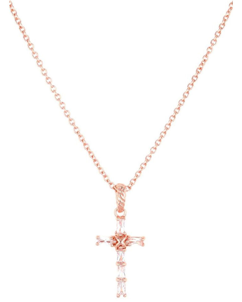 Montana Silversmiths Women's Entwined Rose Gold Brilliant Cross Necklace, , hi-res