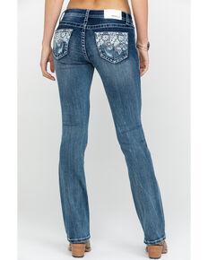 Grace In LA Women's Low Rise Light Lace Pocket Boot Jeans , Blue, hi-res