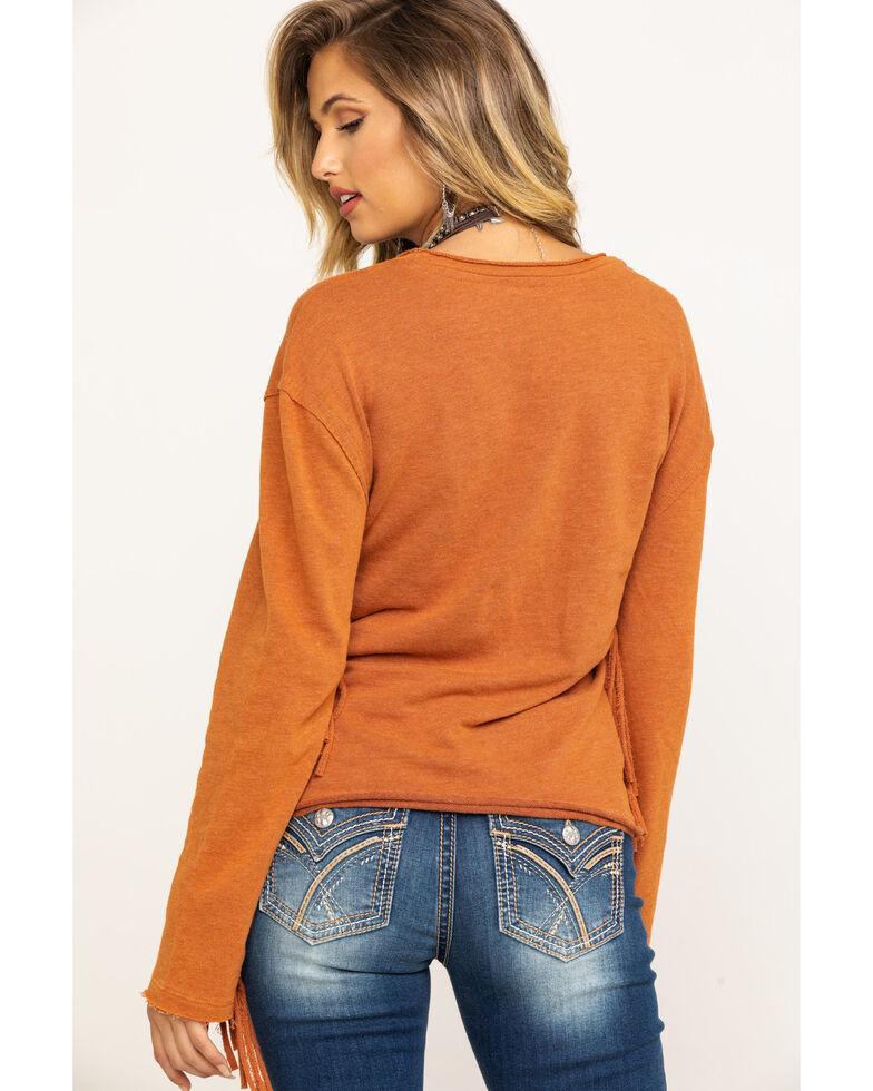 Wrangler Women's Rust Fringe Sleeve Top, Rust Copper, hi-res