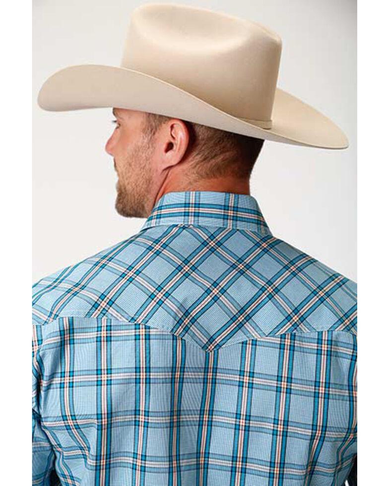 Amarillo Men's Oasis Cold Creek Plaid Snap Short Sleeve Western Shirt , Blue, hi-res