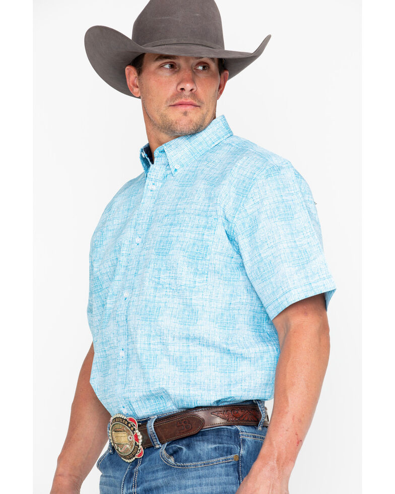 Cody James Men's Gradiant Jigsaw Print Short Sleeve Western Shirt , Blue, hi-res
