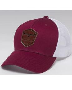 Kimes Ranch Men's Cardinal & White Leather Shield Logo Mesh-Back Trucker Cap , Red, hi-res