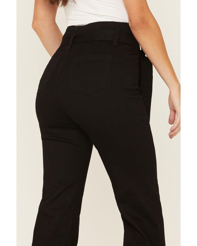 Flying Tomato Women's Self Belt Jeans, Black, hi-res