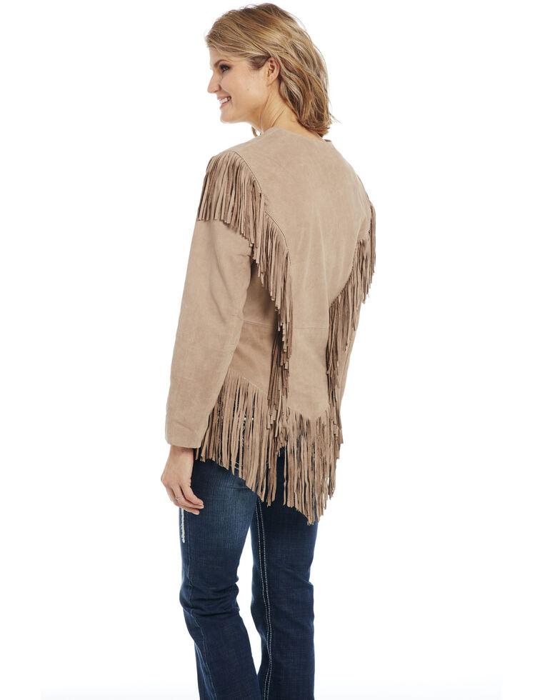 Cripple Creek Women's Ghost Rider Fringe Leather Jacket, Ivory, hi-res